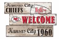 Kansas City Chiefs Welcome 3 Plank Sign