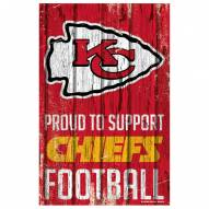 Kansas City Chiefs Proud to Support Wood Sign