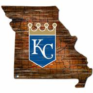 Kansas City Royals Distressed State with Logo Sign