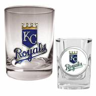 Kansas City Royals MLB 14 Oz Rocks Glass & Square Shot Glass 2-Piece Set