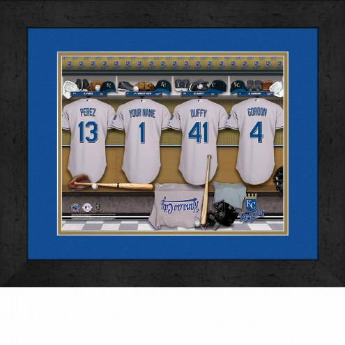 Kansas City Royals Personalized Locker Room 13 x 16 Framed Photograph