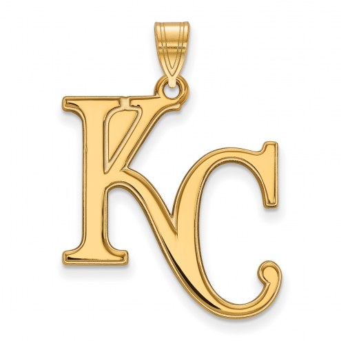 Kansas City Royals Sterling Silver Gold Plated Extra Large Pendant