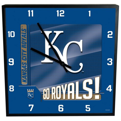 Kansas City Royals Team Black Square Clock