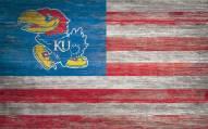 "Kansas Jayhawks 11"" x 19"" Distressed Flag Sign"