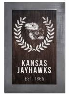 "Kansas Jayhawks 11"" x 19"" Laurel Wreath Framed Sign"