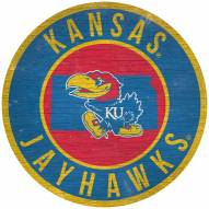 "Kansas Jayhawks 12"" Circle with State Sign"