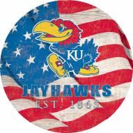 "Kansas Jayhawks 12"" Team Color Flag Circle Sign"