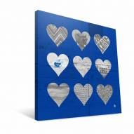 "Kansas Jayhawks 12"" x 12"" Hearts Canvas Print"