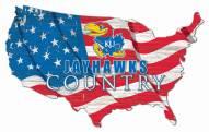 "Kansas Jayhawks 15"" USA Flag Cutout Sign"