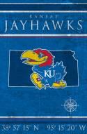 """Kansas Jayhawks 17"""" x 26"""" Coordinates Sign"""