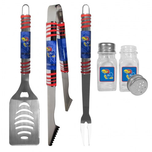 Kansas Jayhawks 3 Piece Tailgater BBQ Set and Salt and Pepper Shakers