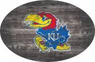 """Kansas Jayhawks 46"""" Distressed Wood Oval Sign"""
