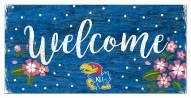 "Kansas Jayhawks 6"" x 12"" Floral Welcome Sign"