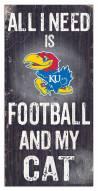 "Kansas Jayhawks 6"" x 12"" Football & My Cat Sign"
