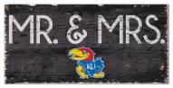 "Kansas Jayhawks 6"" x 12"" Mr. & Mrs. Sign"
