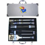 Kansas Jayhawks 8 Piece Stainless Steel BBQ Set w/Metal Case