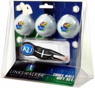Kansas Jayhawks Black Crosshair Divot Tool & 3 Golf Ball Gift Pack