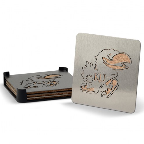 Kansas Jayhawks Boasters Stainless Steel Coasters - Set of 4
