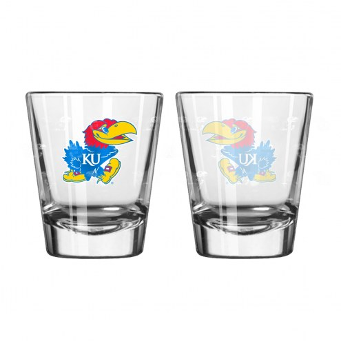 Kansas Jayhawks Satin Etch Shot Glass Set