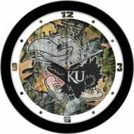 Kansas Jayhawks Camo Wall Clock