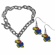 Kansas Jayhawks Chain Bracelet & Dangle Earring Set