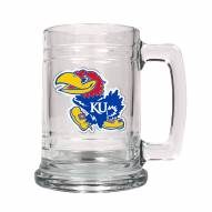 Kansas Jayhawks College Glass Tankard Beer Mug 2-Piece Set