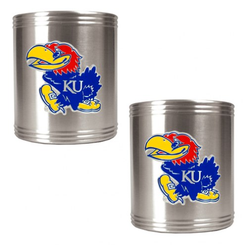 Kansas Jayhawks College Stainless Steel Can Holder 2-Piece Set