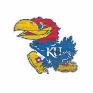 Kansas Jayhawks Distressed Logo Cutout Sign