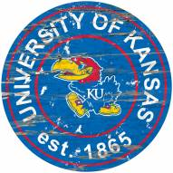 Kansas Jayhawks Distressed Round Sign