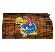 Kansas Jayhawks Distressed State with Logo Sign