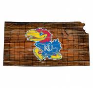 Kansas Jayhawks Distressed State with Logo Sign