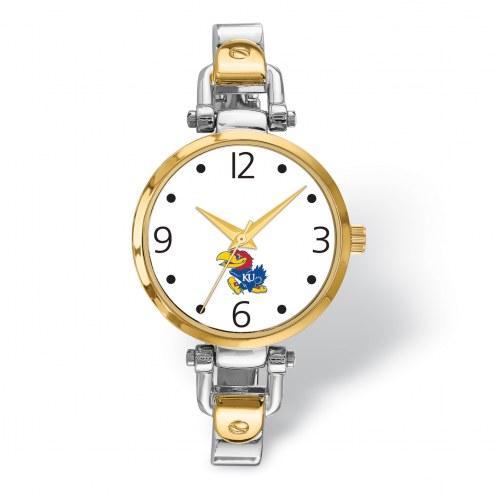 Kansas Jayhawks Elegant Ladies Two-Tone Watch