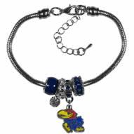 Kansas Jayhawks Euro Bead Bracelet