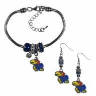 Kansas Jayhawks Euro Bead Earrings & Bracelet Set