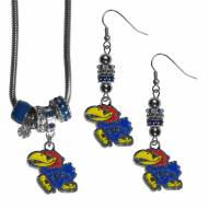 Kansas Jayhawks Euro Bead Earrings & Necklace Set