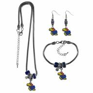 Kansas Jayhawks Euro Bead Jewelry 3 Piece Set
