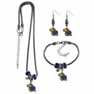 Kansas Jayhawks Euro Bead Jewelry 3 Piece Set