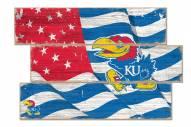 Kansas Jayhawks Flag 3 Plank Sign
