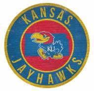 Kansas Jayhawks Round State Wood Sign