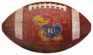 Kansas Jayhawks Football Shaped Sign