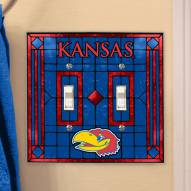 Kansas Jayhawks Glass Double Switch Plate Cover