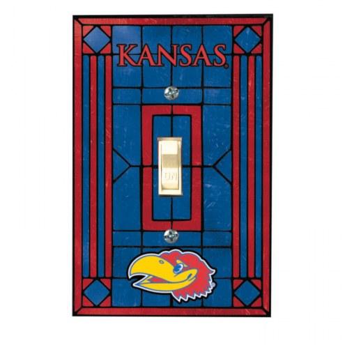 Kansas Jayhawks Glass Single Light Switch Plate Cover