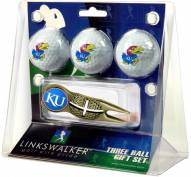 Kansas Jayhawks Gold Crosshair Divot Tool & 3 Golf Ball Gift Pack