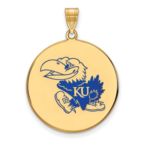 Kansas Jayhawks Sterling Silver Gold Plated Extra Large Enameled Disc Pendant