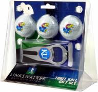 Kansas Jayhawks Golf Ball Gift Pack with Hat Trick Divot Tool