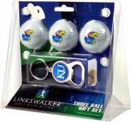 Kansas Jayhawks Golf Ball Gift Pack with Key Chain