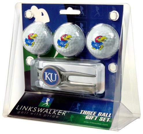 Kansas Jayhawks Golf Ball Gift Pack with Kool Tool