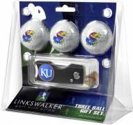Kansas Jayhawks Golf Ball Gift Pack with Spring Action Divot Tool