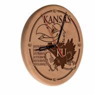Kansas Jayhawks Laser Engraved Wood Clock