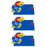 Kansas Jayhawks Home State Decal - 3 Pack
